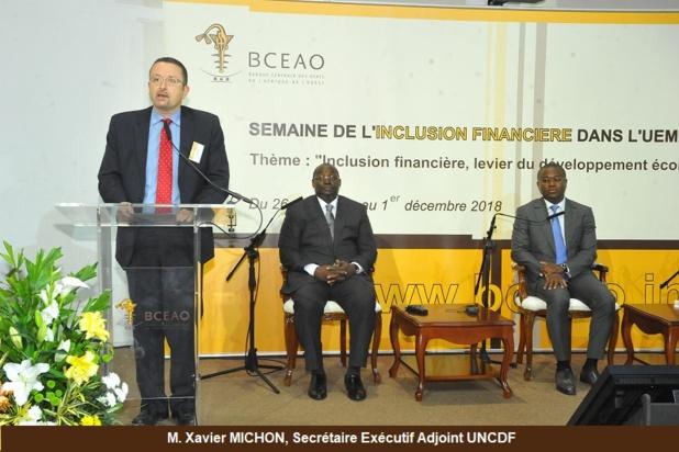 Xavier Michon, Secrétaire Exécutif Adjoint  UNCDF lors du lancement de la semaine de l'inclusion financière dans la zone Uemoa