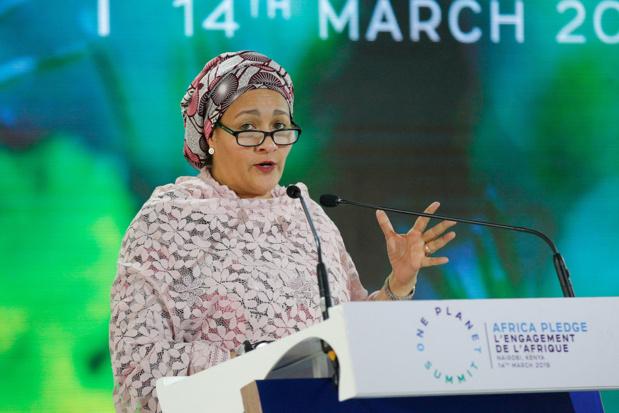 PNUE/Cyril Villemain Edit La Vice-Secrétaire générale des Nations Unies, Amina J. Mohammed, s'adresse à la quatrième session de l'Assemblée de l'ONU pour l'environnement (UNEA4) à Nairobi, au Kenya.
