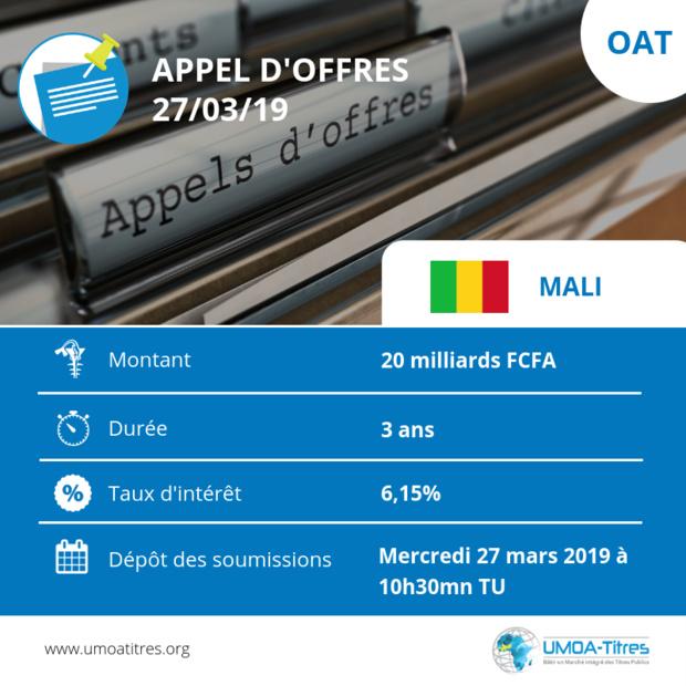 Obligations du Trésor : Le Mali sollicite 20 milliards de FCFA sur le marché régional