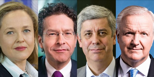 L'Espagnole Nadia Calviño, le Néerlandais Jeroen Dijsselbloem, le Portugais Mario Centeno et le Finlandais Olli Rehn sont pressentis comme les favoris pour la direction générale du FMI. (Crédits : Reuters)