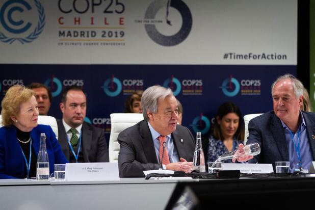 CCNUCC Le Secrétaire général de l'ONU, António Guterres, prend la parole lors de la réunion de haut niveau sur la protection du climat à la COP25 - la Conférence des Nations Unies sur le changement climatique organisée à Madrid