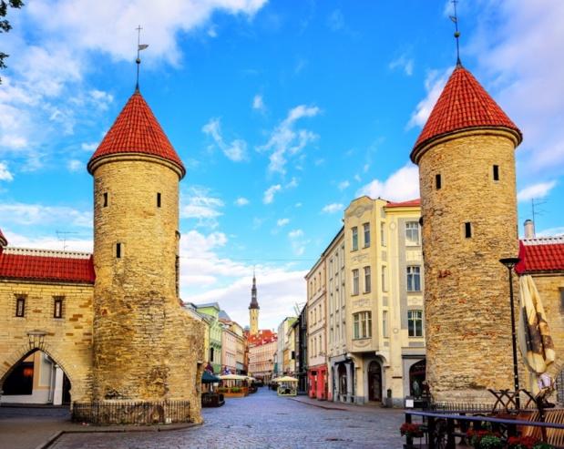 Les tours jumelles de Viru Gate dans la vieille ville de Tallinn, Estonie. Le pays a modifié sa campagne de promotion touristique sur Twitter : à la place de « Visitez l'Estonie », on peut lire à présent « Visitez l'Estonie... Bientôt. #resteràlamaison ». Photographie : © Boris Stroujko/Shutterstock