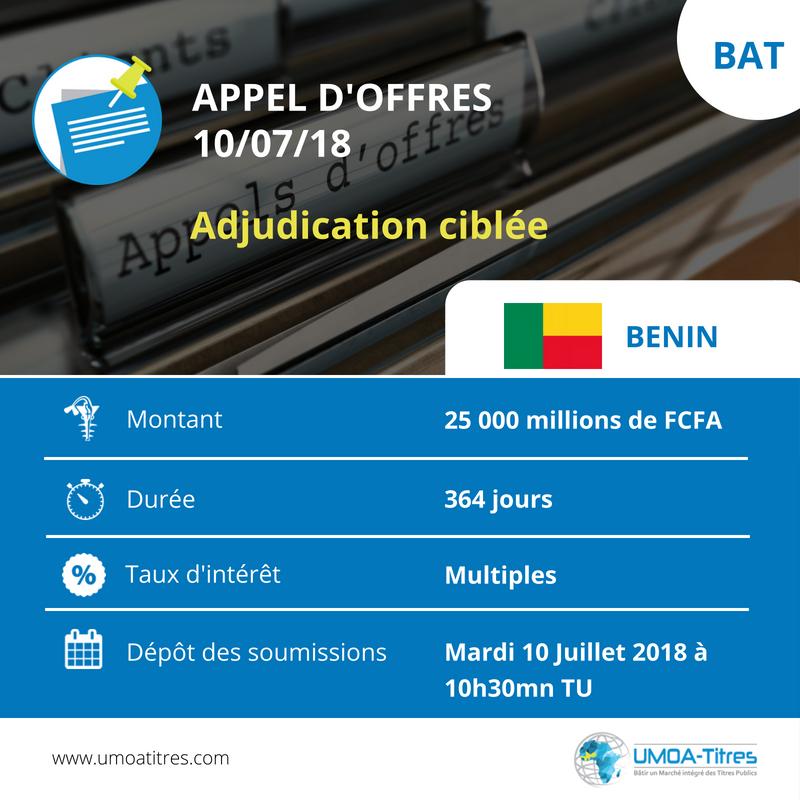 Adjudication ciblée : Le Benin sollicite 25 milliards de FCFA sur le Marché des Titres Publics de l'UEMOA