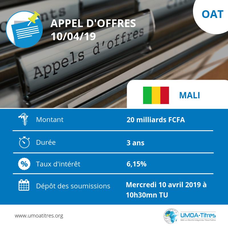 Marché financier régional : Le Mali sollicite 20 milliards de FCFA en obligations du trésor