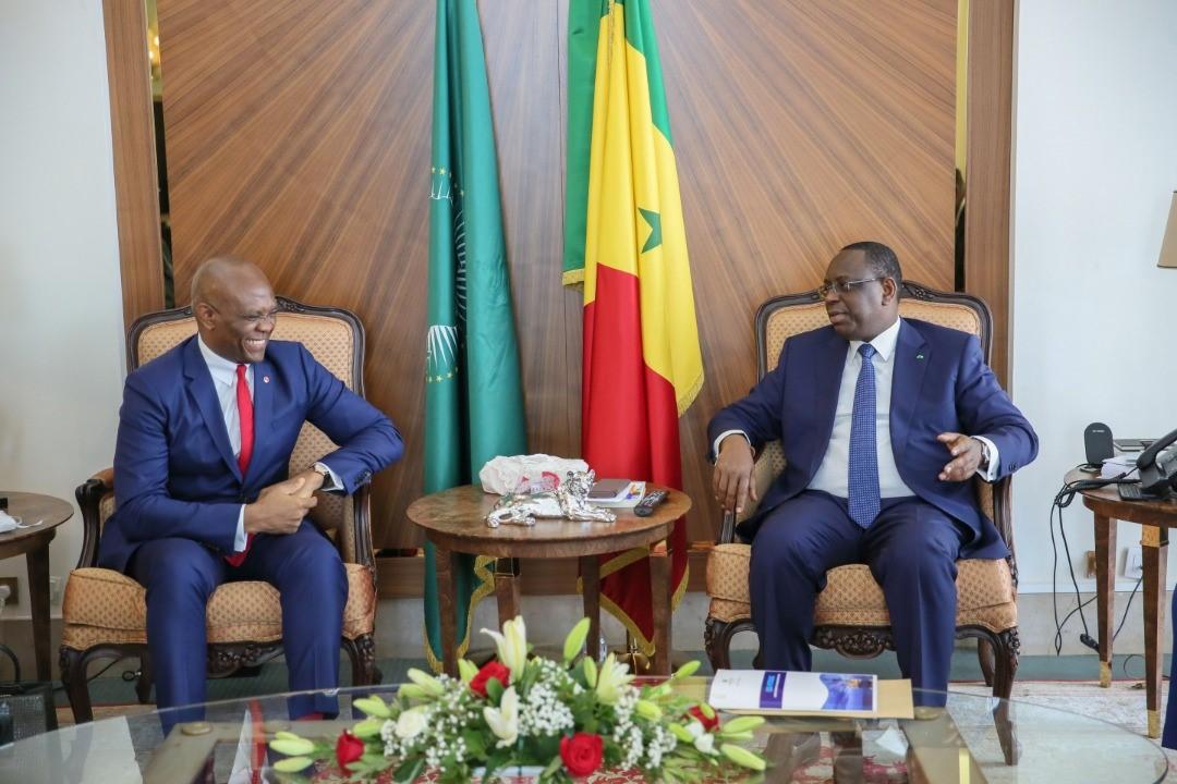 Tony Elumelu à Dakar pour remercier le Président  Macky Sall pour sa participation lors du 5ème Forum de l'entreprenariat de la Fondation éponyme