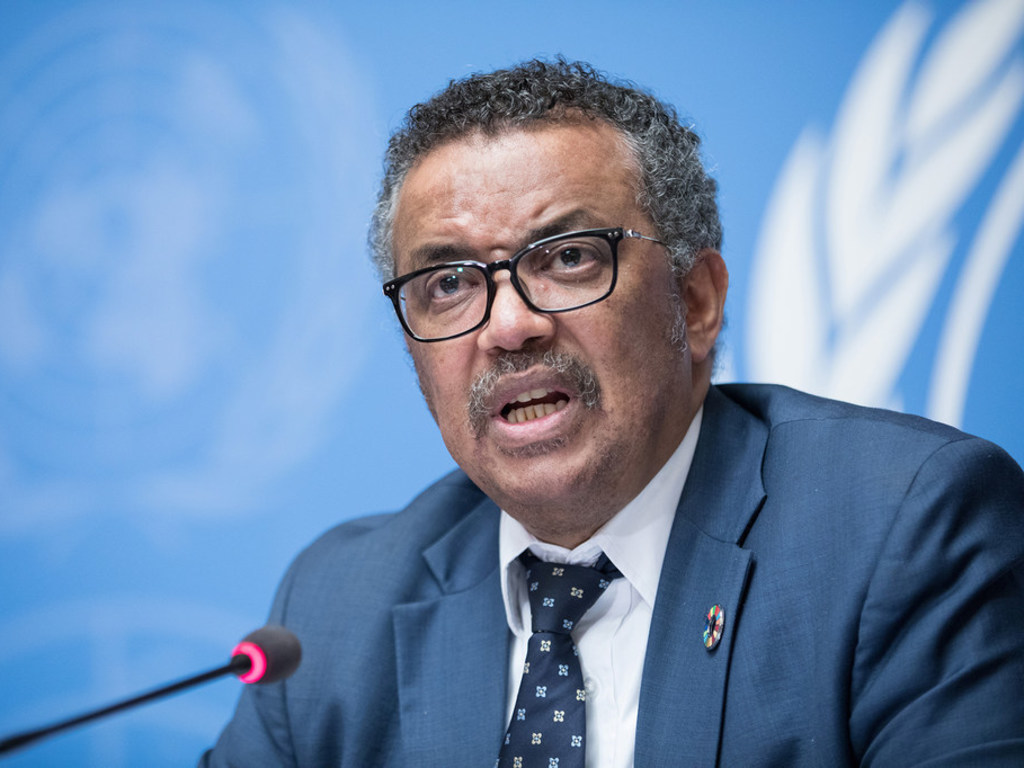 ONU/Elma Okic Tedros Adhanom Ghebreyesus, Directeur général de l'OMS s'exprime lors d'une conférence de presse à Genève (photo d'archives).