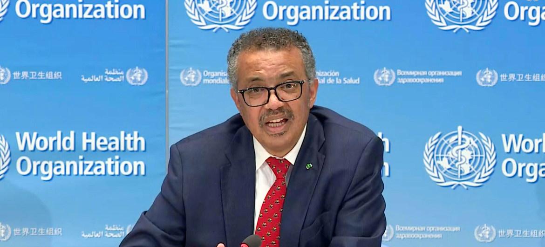 Photo ONU/Evan Schneider Le Directeur général de l'OMS, Tedros Adhanom Ghebreyesus,lors d'un point de presse
